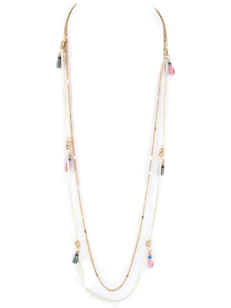 Stationed Tassels Layer Necklace, Ivory