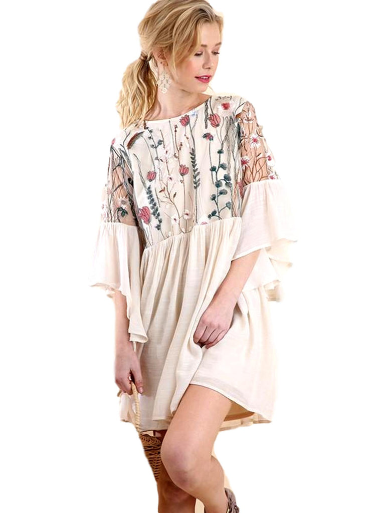 Angel Sleeve Floral Embroidery, Natural