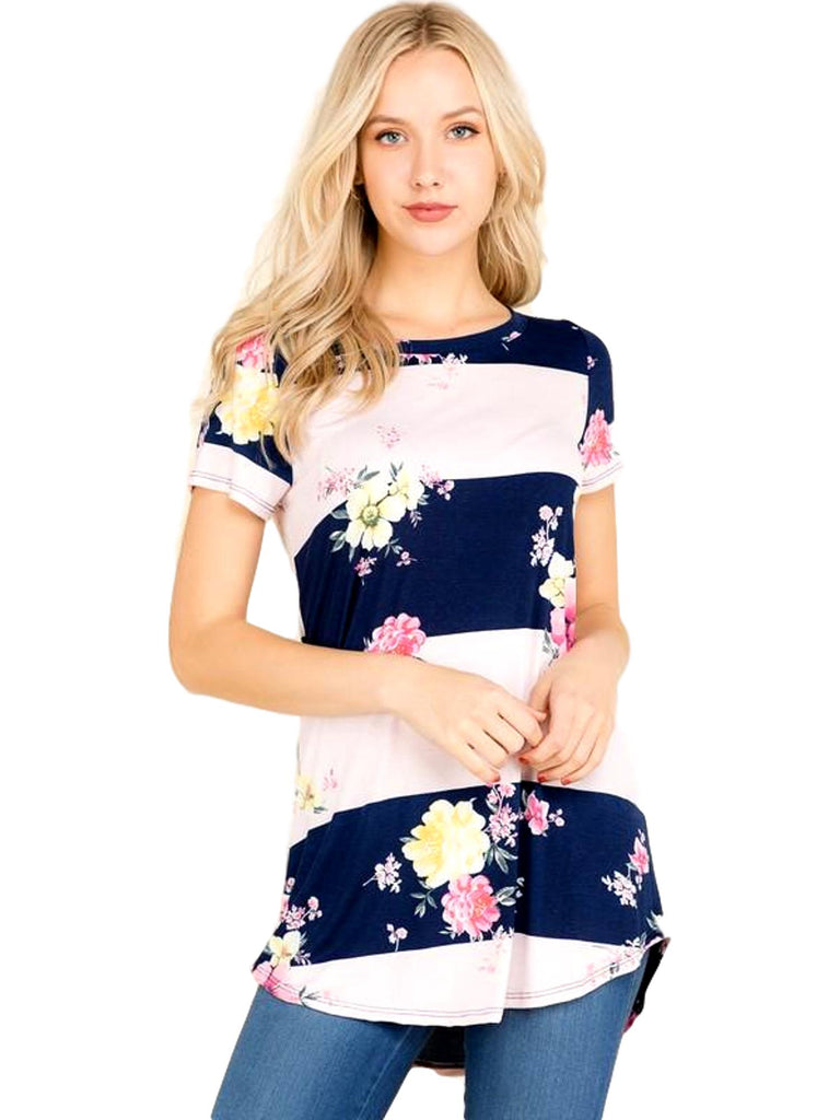 Curvy Floral Striped Top, Pink