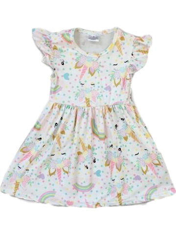 Girls Rainbow Unicorn Dress, White