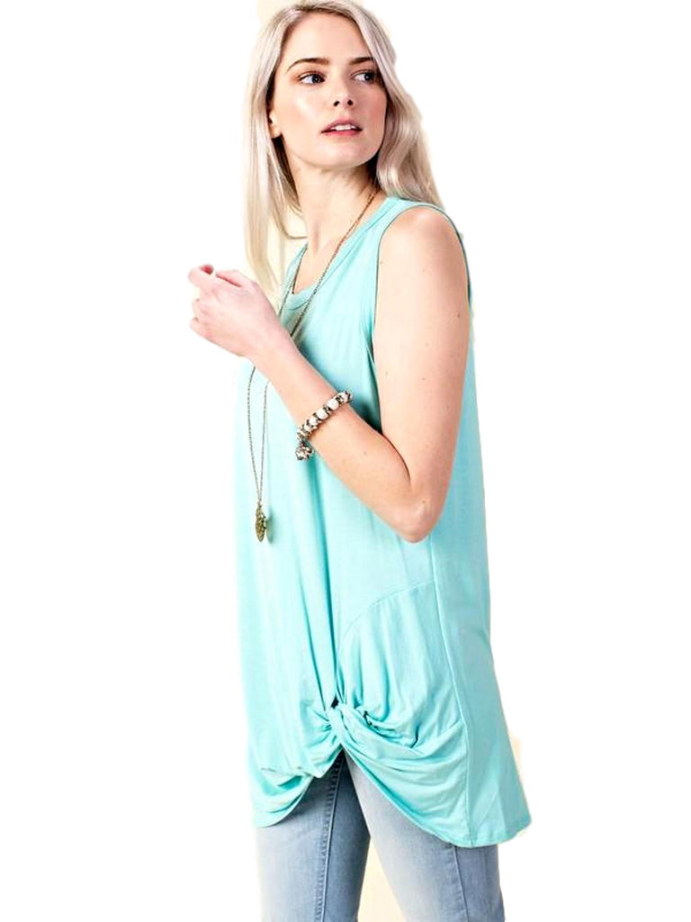 Jersey Sleeveless Tank Top With Front Knot Detail, Mint