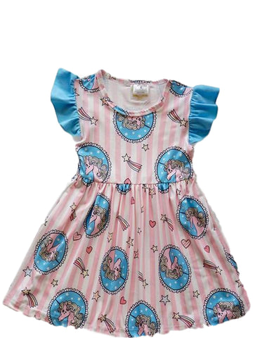 Girls Unicorn Print Dress, Multi