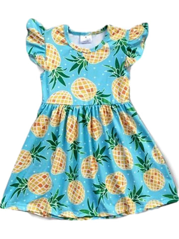 Girls Pineapple Angel Sleeve Dress, Mint