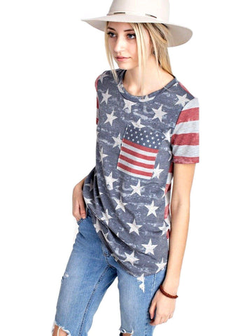 American Flag Short Sleeve Top, Heather Gray-SHORT SLEEVE-12 PM-Chic Boutique and Gift Emporium