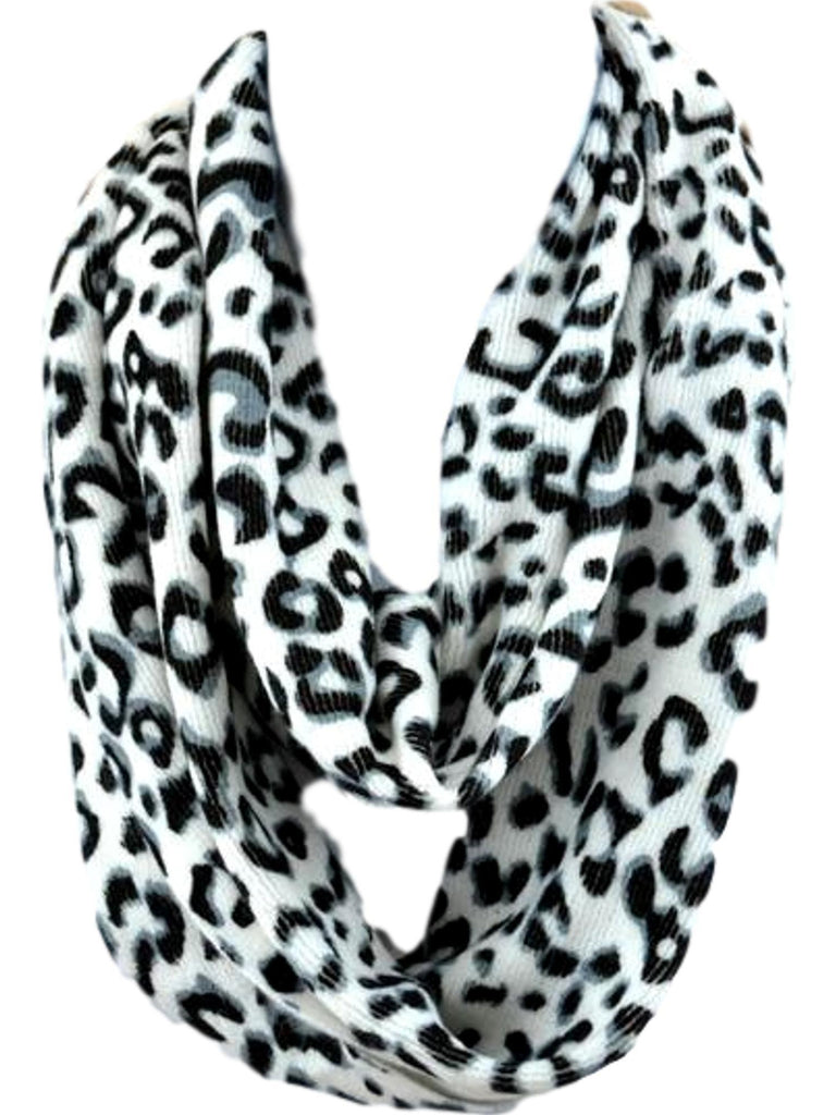 Animal print Infinity, White-SCARFS-S & J First-OS-White-Chic Boutique and Gift Emporium
