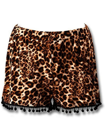 Animal Print Pom Pom Shorts, Btown-Black-SHORTS-TREND NOTES-Chic Boutique and Gift Emporium