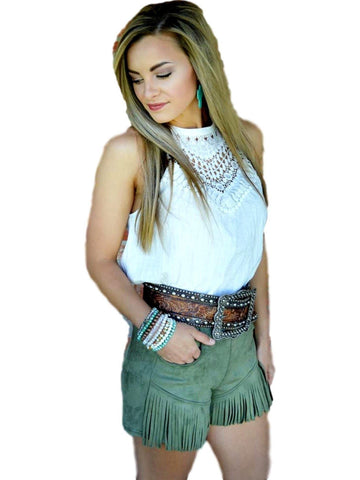 Any Fringe of Mine Shorts, Olive-PANTS-Crazy Train-Chic Boutique and Gift Emporium