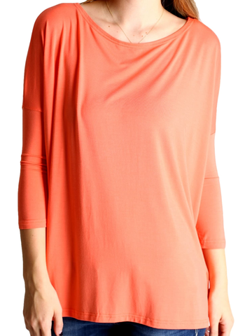 Authentic Piko 3/4 Sleeve Top, Dark Peach (Size S)-Piko-PIko Fashion-S-Dark Peach-Chic Boutique and Gift Emporium