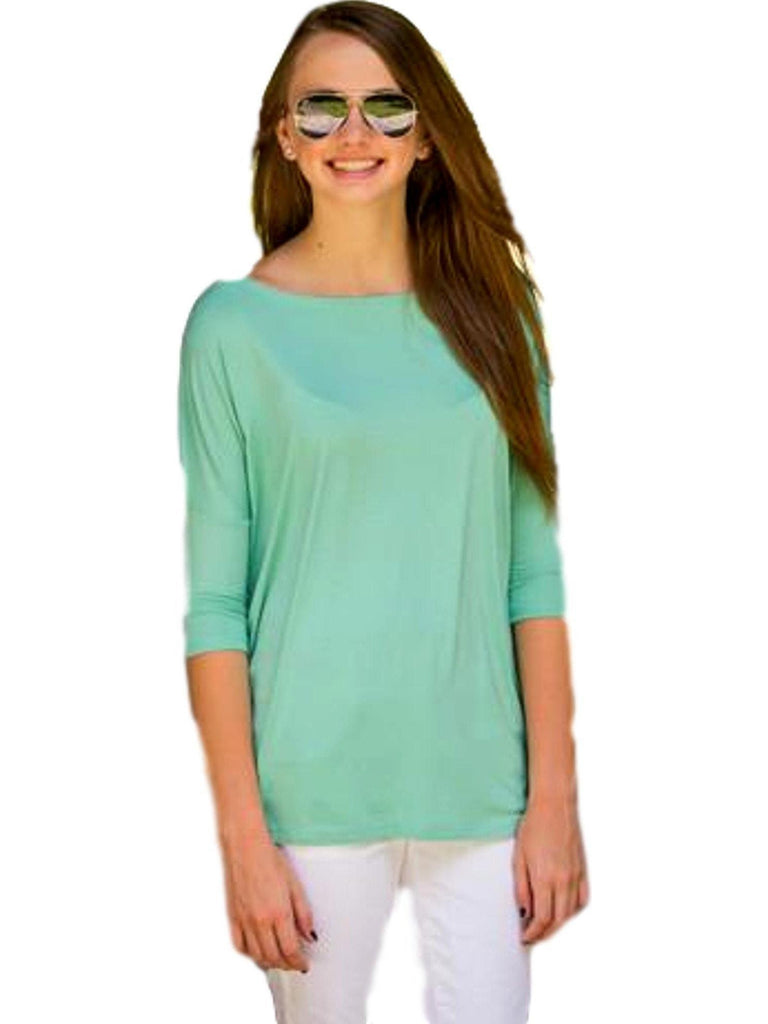 Authentic Piko 3/4 Sleeve Top, Light Turquoise-Piko-PIko Fashion-S-Light Turquoise-Chic Boutique and Gift Emporium