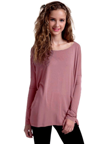 Authentic Piko Long Sleeve Top, Dusty Mauve-Piko-Piko Fashions-Chic Boutique and Gift Emporium