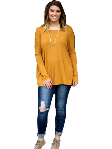 Authentic Piko Long Sleeve Top, Mustard-Piko-Piko Fashions-Chic Boutique and Gift Emporium