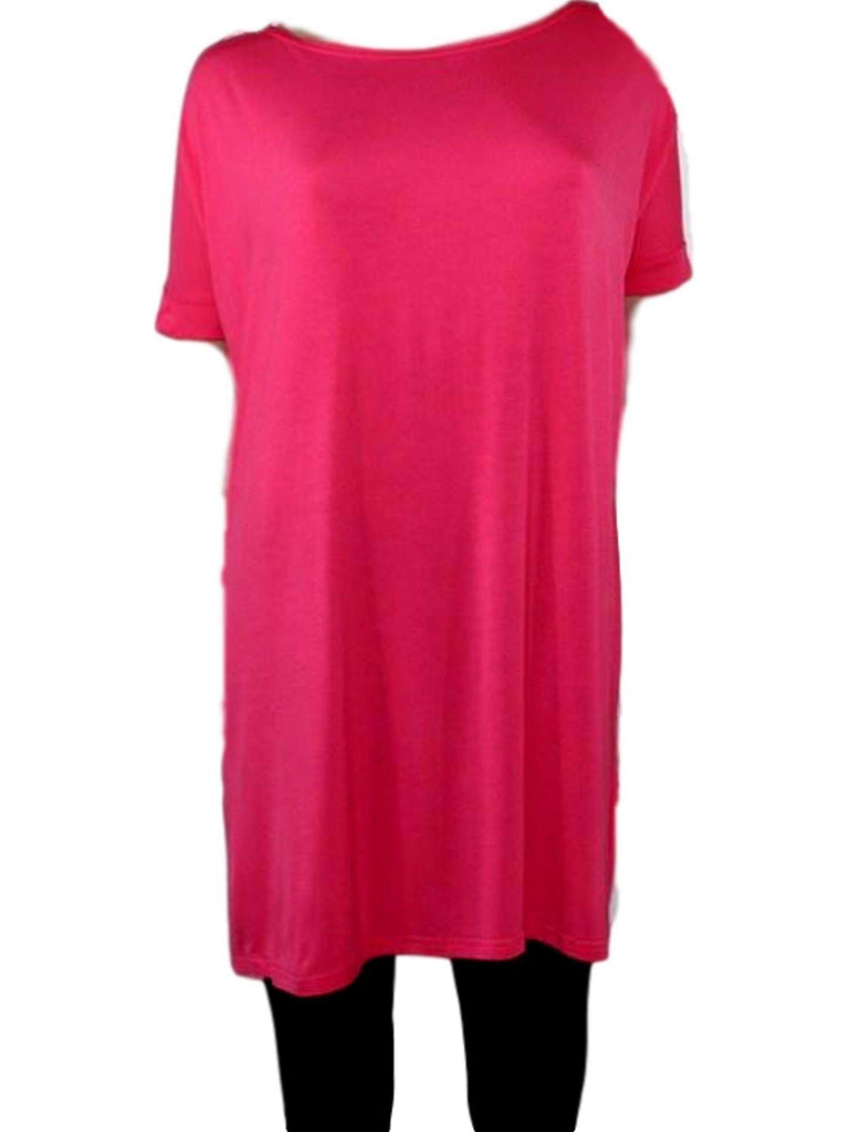 Authentic Piko Short Sleeve Tunic, Hot Pink-Piko-PIko Fashion-Chic Boutique and Gift Emporium