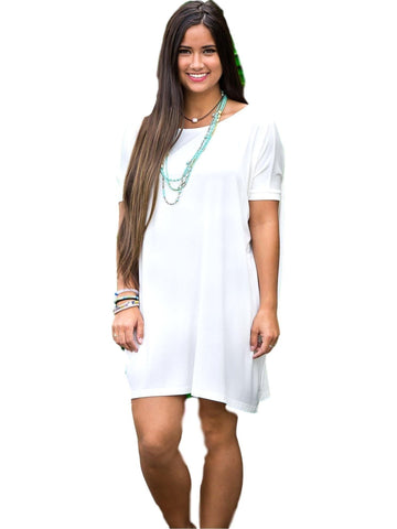 Authentic Piko Short Sleeve Tunic, Off White-Piko-PIko Fashion-L-Off White-Chic Boutique and Gift Emporium