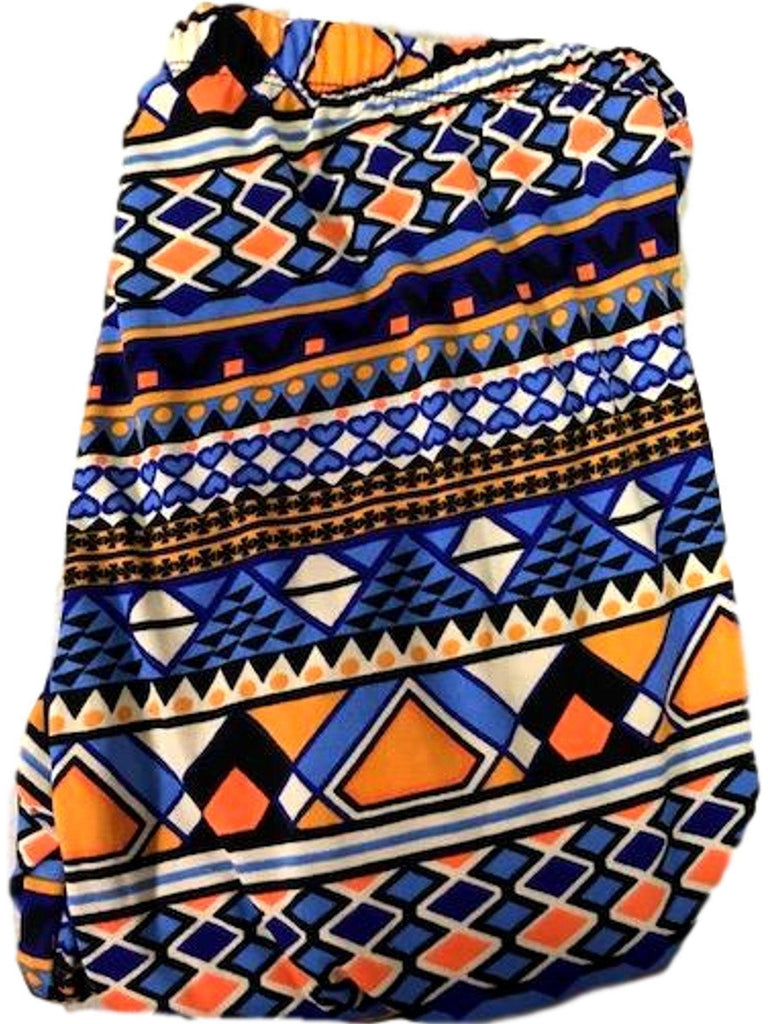 Aztec Printed Leggings, Blue-Orange Multi-LEGGINGS-2NE1 APPAREL-OS-Blue-Orange Multi-Chic Boutique and Gift Emporium