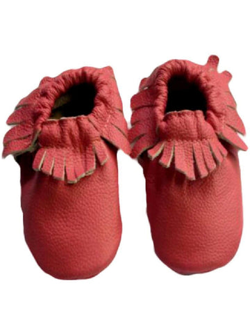 Baby Leather Moccasins, Coral-BABY SHOES-Candy-12-18 Mth-Coral-Chic Boutique and Gift Emporium