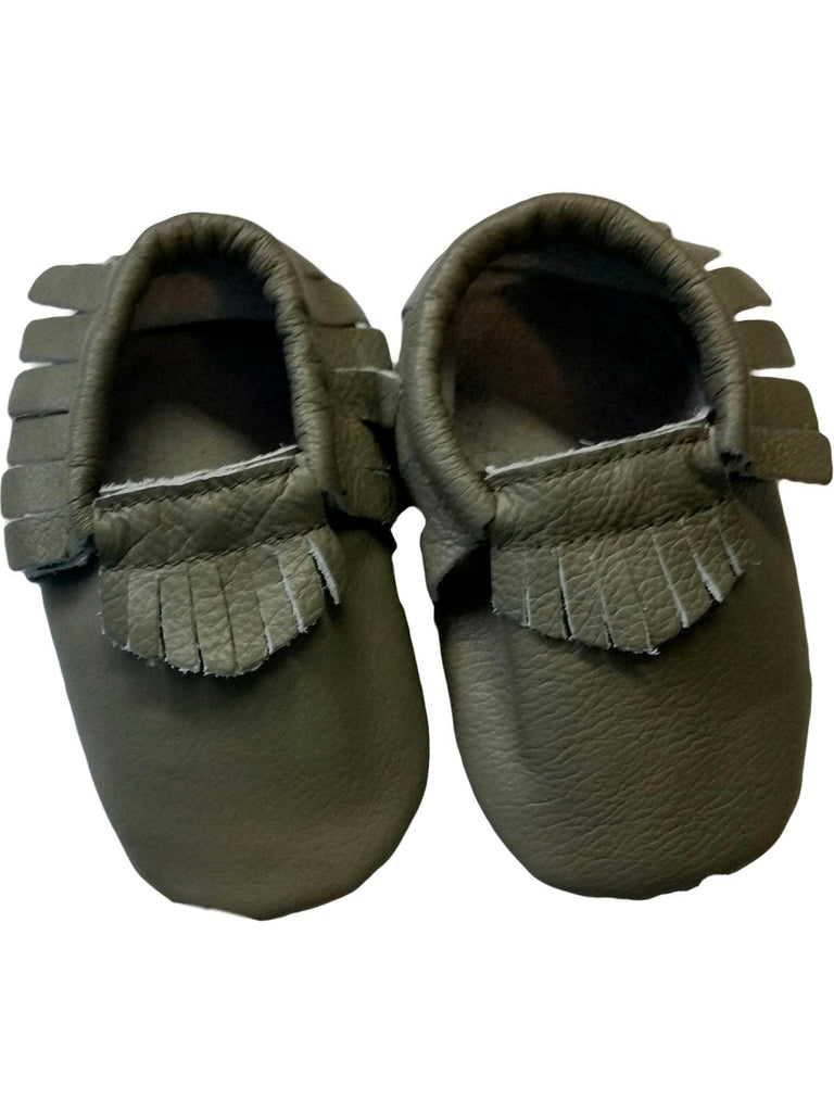Baby Leather Moccasins, Dark Green-BABY SHOES-Candy-Chic Boutique and Gift Emporium