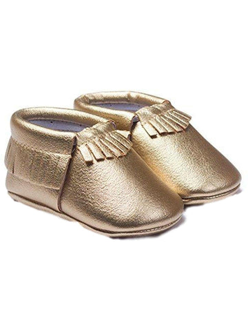 Baby Leather Moccasins, Gold-BABY SHOES-Candy-Chic Boutique and Gift Emporium