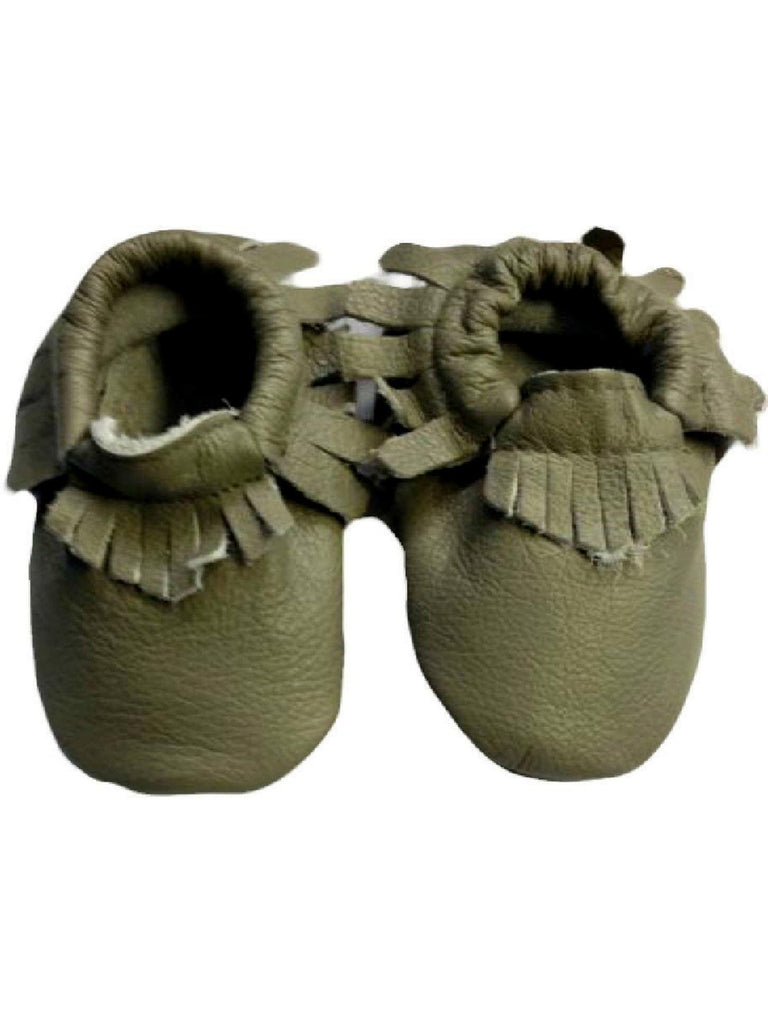 Baby Leather Moccasins, Gray-BABY SHOES-Candy-Chic Boutique and Gift Emporium