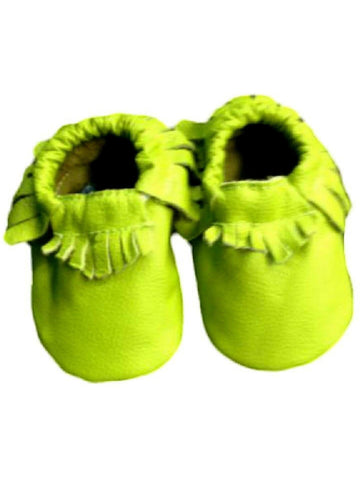 Baby Leather Moccasins, Green-BABY SHOES-Candy-Chic Boutique and Gift Emporium