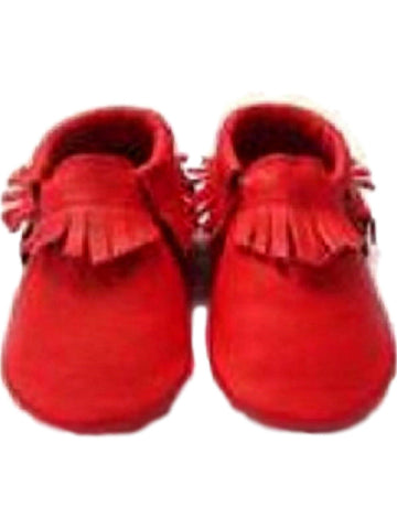 Baby Leather Moccasins, Red-BABY SHOES-Candy-Chic Boutique and Gift Emporium