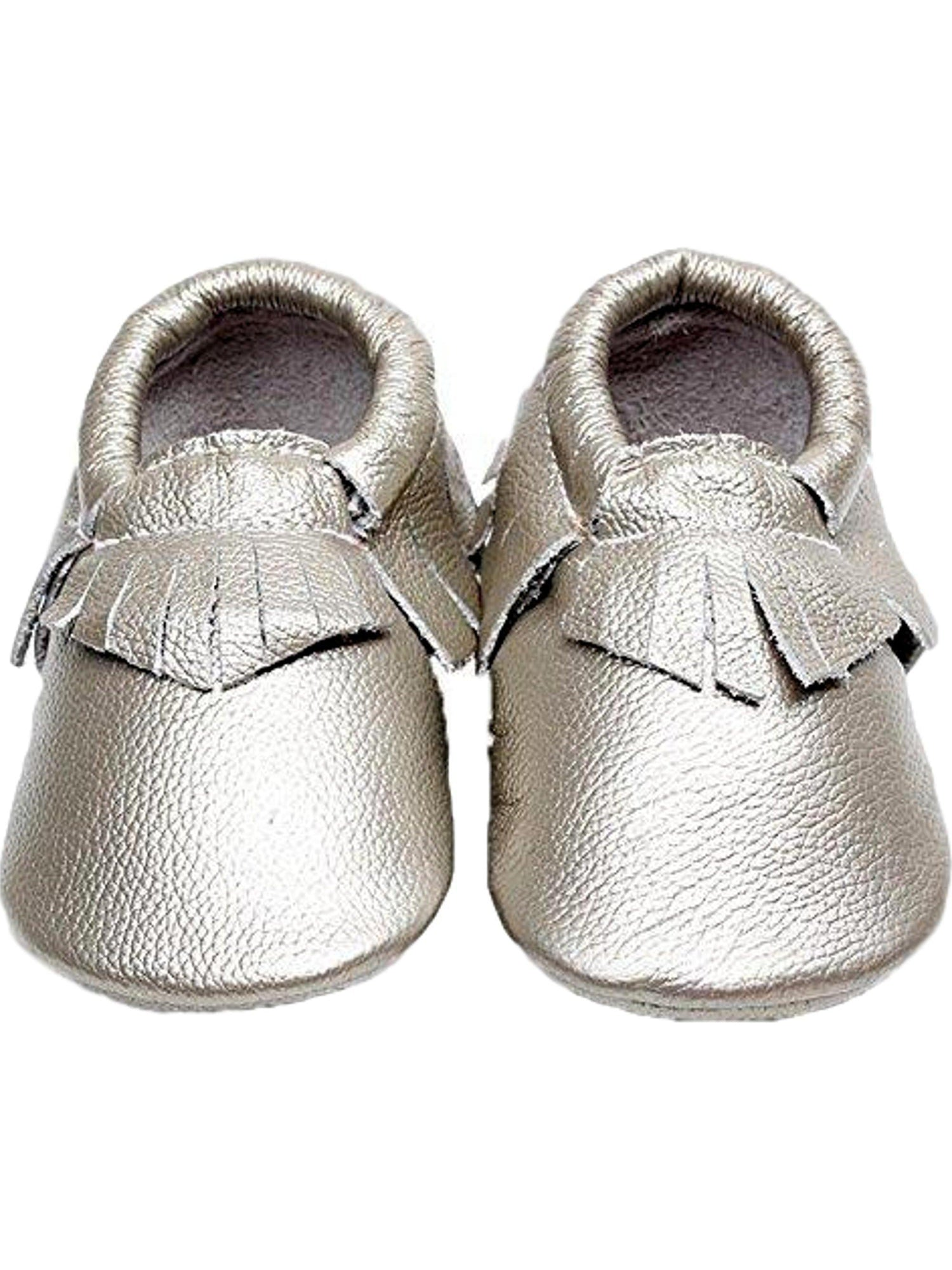 Baby Leather Moccasins Silver