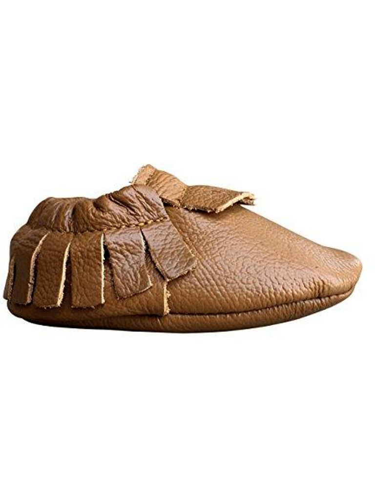 Baby Leather Moccasins, Tan-BABY SHOES-Candy-Chic Boutique and Gift Emporium