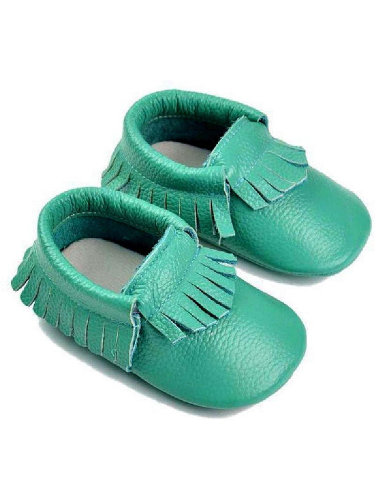 Baby Leather Moccasins, Teal-BABY SHOES-Candy-18-24 Mth-Teal-Chic Boutique and Gift Emporium