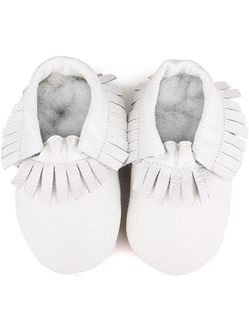 Baby Leather Moccasins, White-BABY SHOES-Candy-Chic Boutique and Gift Emporium