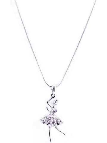 """BALLERINA "" Pendant NeckLace, Silver-NECKLACES-Cool Cat Designers-OS-Silver-Chic Boutique and Gift Emporium"