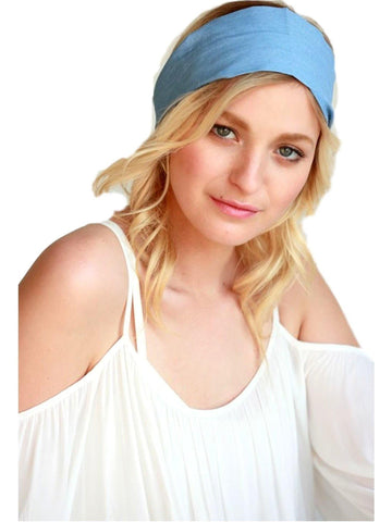 Bohemian Look Wide Denim Head Band, Light Blue-LOVE YOUR HAIR-Urbanista-OS-Light Blue-Chic Boutique and Gift Emporium