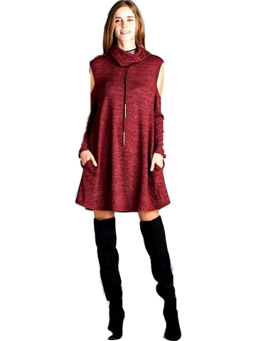 Boho Loose fit, long sleeve, turtleneck, cold shoulder Dress, Burgundy-CASUAL DRESSES-Goldspark-Chic Boutique and Gift Emporium