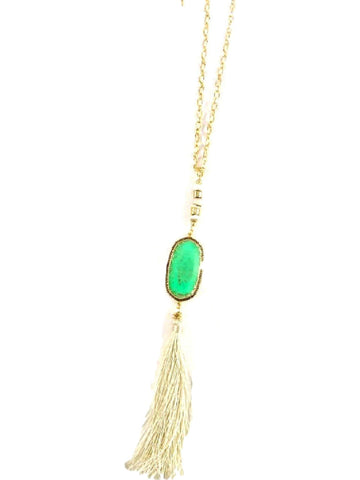 Bold Stone Necklace with Tassel, jade-NECKLACES-La3accessories-OS-Jade-Chic Boutique and Gift Emporium