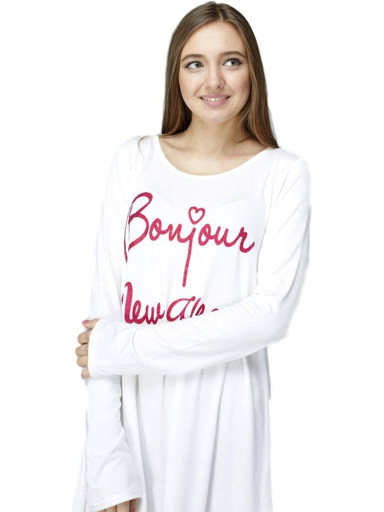 """BonJour New Year"" Dress, White-HOLIDAY SHIRTS-12 PM-Chic Boutique and Gift Emporium"