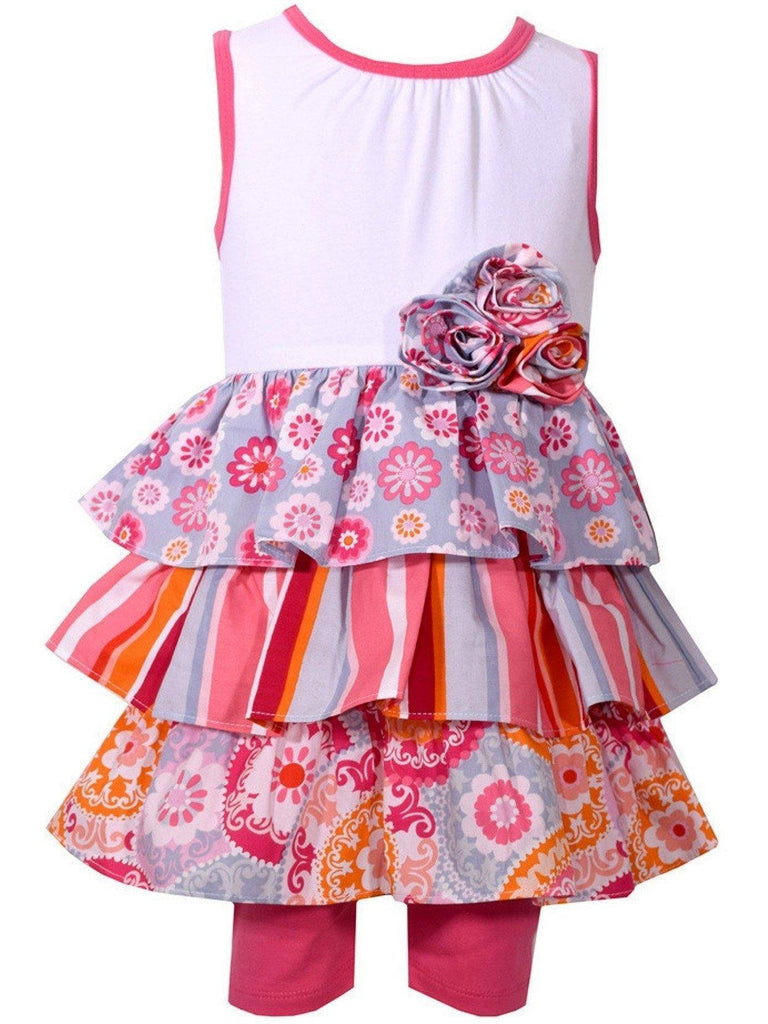 Bonnie Jean-Floral Tiered Print Poplin Short Set, Fuchsia-BONNIE JEAN-Bonnie Jean-Chic Boutique and Gift Emporium