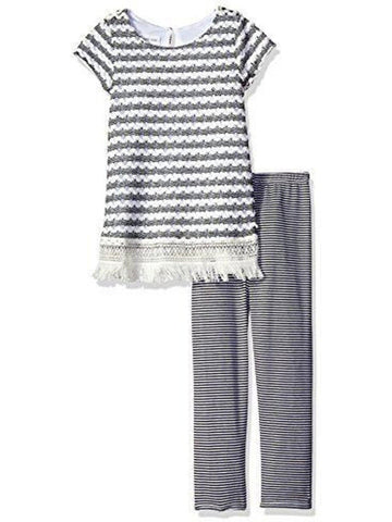 Bonnie Jean-Fringe Knit Set, Black-White-TODDLER SETS-Bonnie Jean-Chic Boutique and Gift Emporium