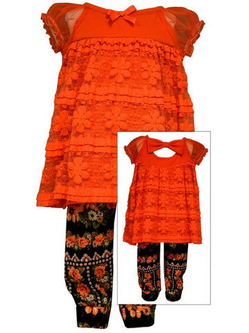 Bonnie Jean-Lace & Floral Set, Coral-TODDLER SETS-Bonnie Jean-Chic Boutique and Gift Emporium