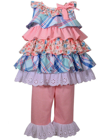 Bonnie Jean-Plaid Tiered Dress with Eyelet Hem Capri Set, Coral-BONNIE JEAN-Bonnie Jean-Chic Boutique and Gift Emporium