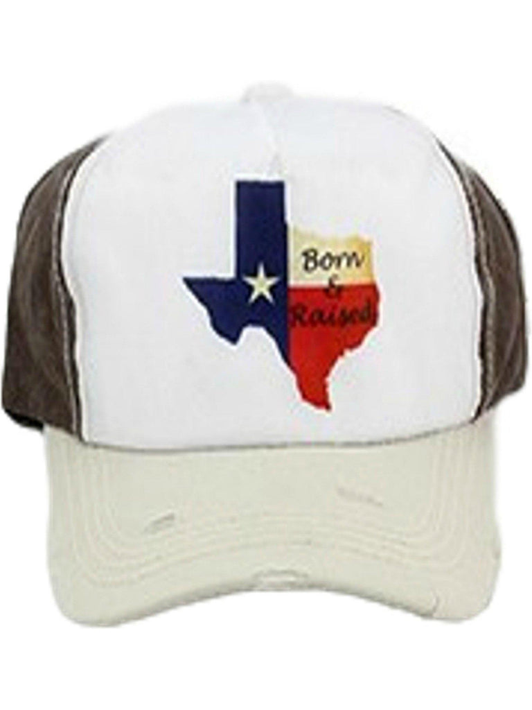 """Born n Raised"" Baseball Hat, Brown-White-HATS & HAIR-Your Fashion Wholesale-OS-Brown-White-Chic Boutique and Gift Emporium"