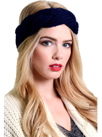 Braided crochet headband, Navy-LOVE YOUR HAIR-Leto-OS-Navy-Chic Boutique and Gift Emporium