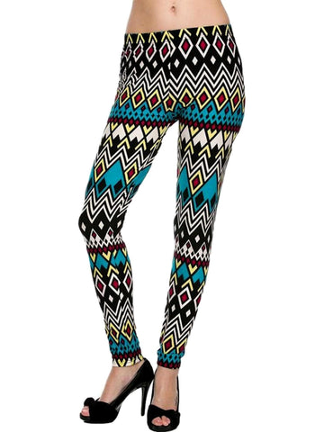 Brushed Diamond Pring Legging, Green Multi-LEGGINGS-2NE1 APPAREL-OS-Green Multi-Chic Boutique and Gift Emporium