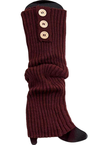 Button Long Knit Leg Warmer, Brown-BOOT SOCKS-ONE ZOO-OS-Brown-Chic Boutique and Gift Emporium