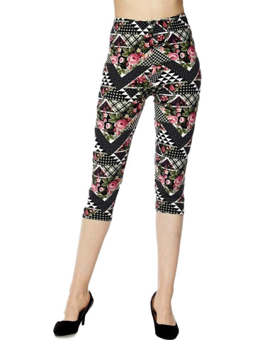 Capri Flower Leggings, Multi-LEGGINGS-2NE1 APPAREL-OS-Multi-Chic Boutique and Gift Emporium