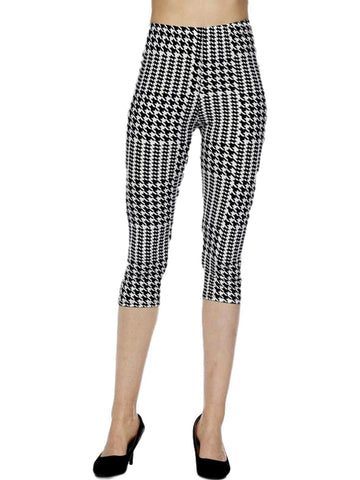 Capri Houndstooth Leggings, Black-LEGGINGS-2NE1 APPAREL-OS-Chic Boutique and Gift Emporium