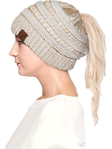 CC Messy Bun Beanie, Ivory-Gold Metallic-BEANIES-Hana-OS-Ivory-Gold Metallic-Chic Boutique and Gift Emporium