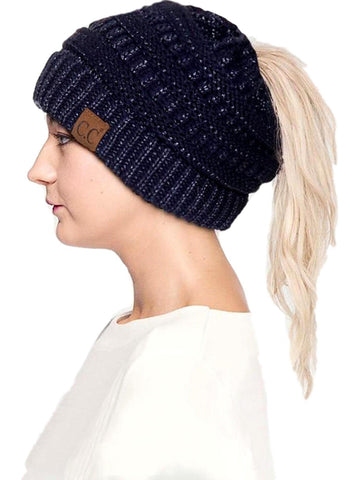 CC Messy Bun Beanie, Navy Metallic-BEANIES-Hana-OS-Navy Metallic-Chic Boutique and Gift Emporium