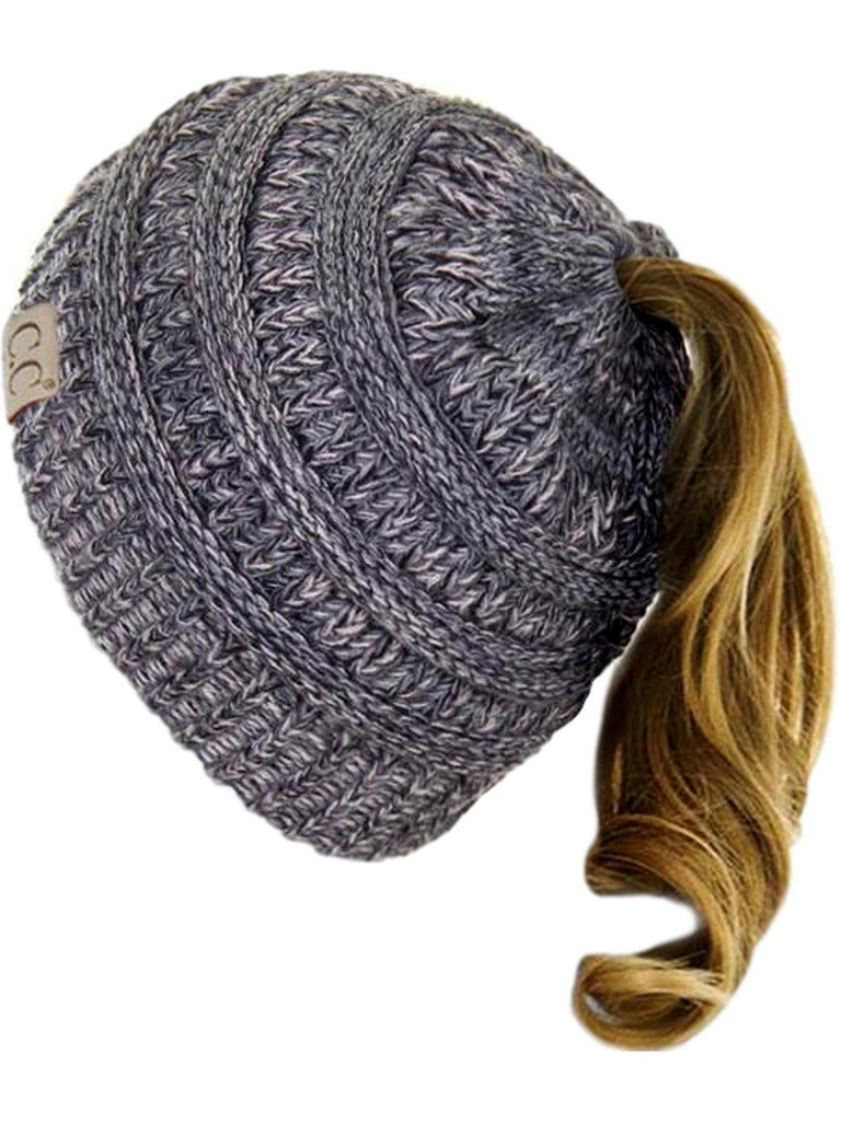 CC Messy Bun Beanie, Two Tone Gray-BEANIES-Hana-OS-Gray-Chic Boutique and Gift Emporium