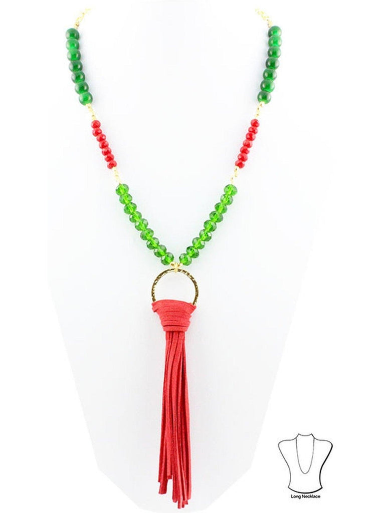 Christmas NeckLace with Tassel, Red-Green-NECKLACES-Your Fashion Wholesale-OS-Red-Green-Chic Boutique and Gift Emporium