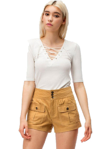 Corduroy Shorts, Mustard-SHORTS-HYFVE-Chic Boutique and Gift Emporium