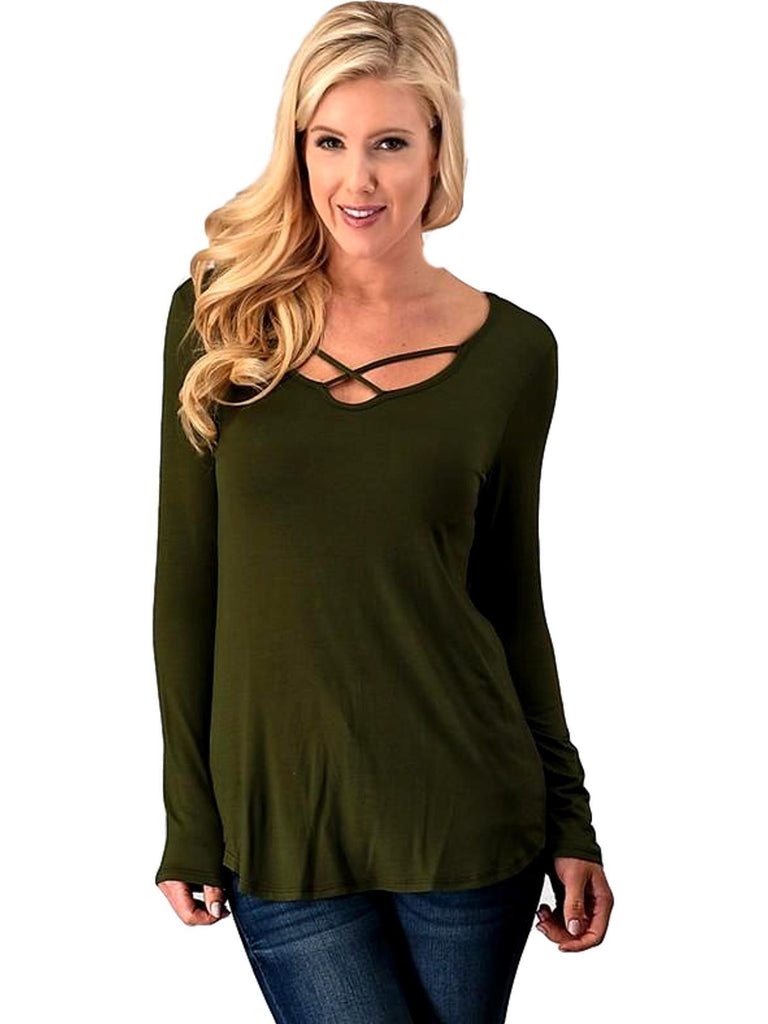 Criss Cross Front Long Sleeve Top, Olive-LONG SLEEVE-TREND NOTES-Chic Boutique and Gift Emporium