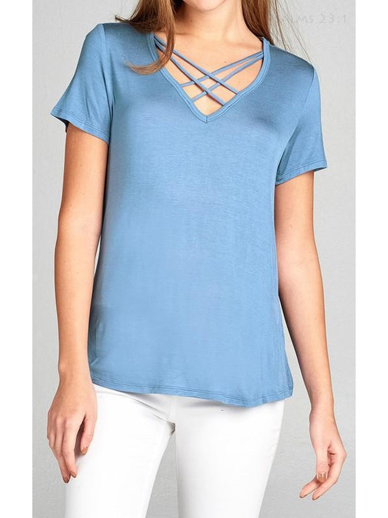 Criss Cross Short Sleeve V-neck Top, Blue Shadow-SHORT SLEEVE-The True Love-Chic Boutique and Gift Emporium